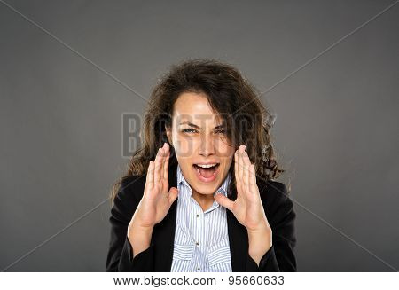 Angry Businesswoman Yelling