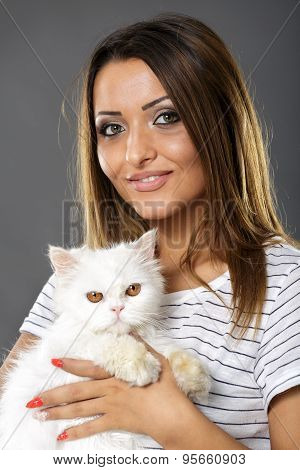 Woman Holding Her White Cat