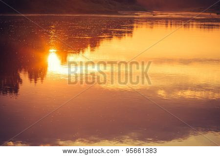 Background of Sunset Sky and River reflections beautiful scenery with natural colors