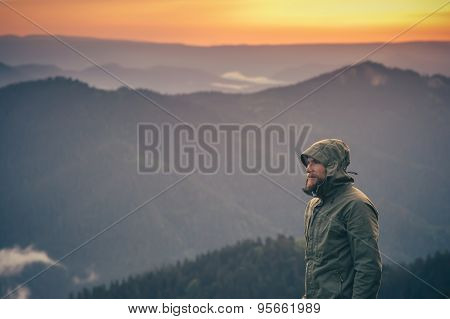 Young Man bearded standing alone outdoor