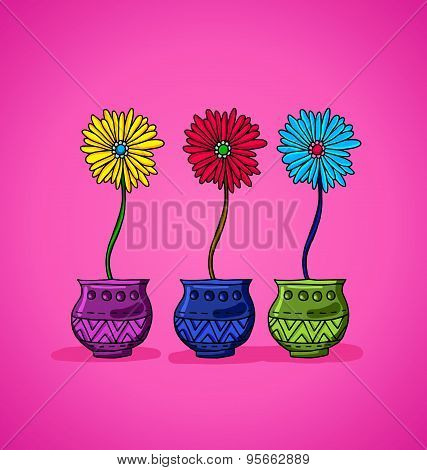 Bright Flowers In Pots