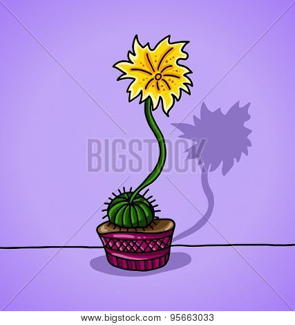 decorative cactus in a flowerpot