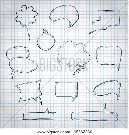 Set of hand drawn speech bubble