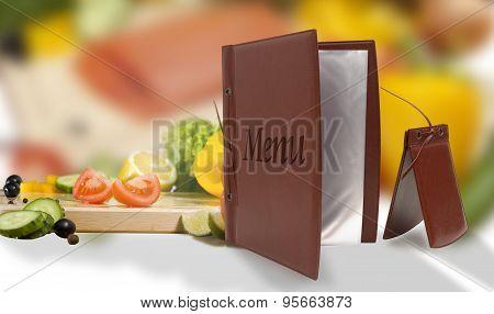 Leather Vegetarian Menu In A Restaurant