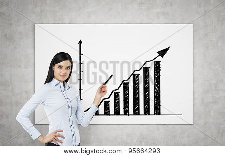 A Brunette Is Pointing Out Bar Chart. A Concept Of Successful Business Presentation. Concrete Wall.