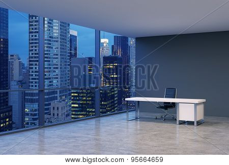 A Workplace In A Modern Corner Panoramic Office With New York Evening View. A Black Leather Chair An