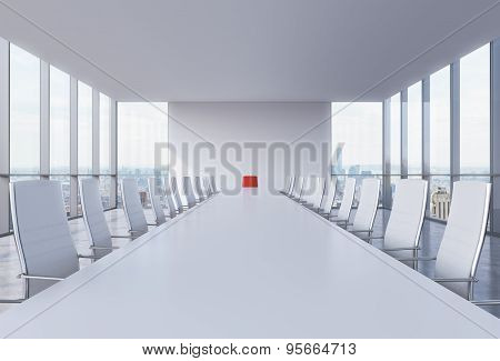 Panoramic Conference Room In Modern Office In New York City. White Chairs And A White Table. A Red C