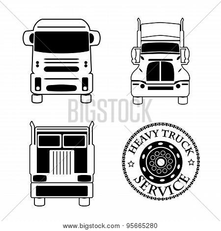 Vector Illustration Set Icons Heavy Truck Automobile Service