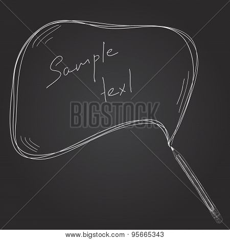 Pencil Hand Draw with Text Box for Your Design on Blackboard