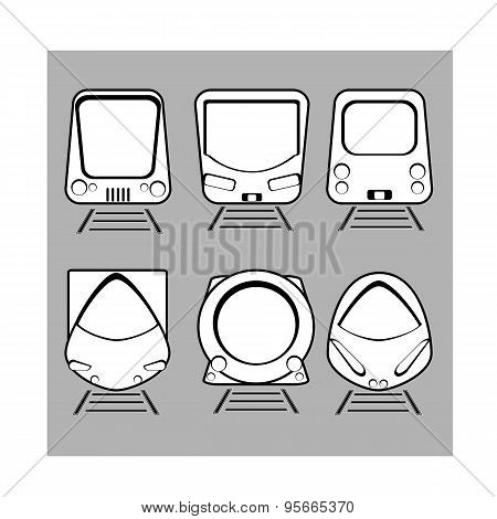 Vector Set Silhouette Modern Express Train On Gray