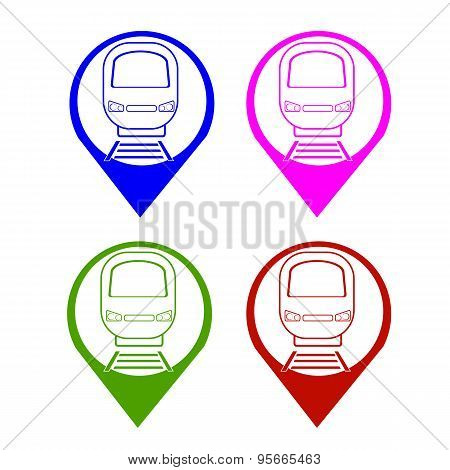 Vector Set Silhouette Modern Express Train Front