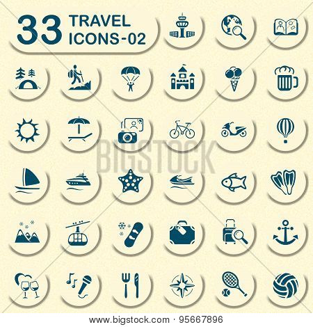 Jeans travel and vacation icons