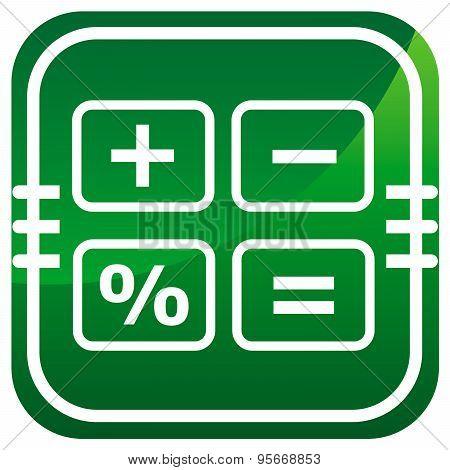Calculator Cash Register- Green Icon Isolated