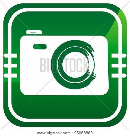 Photo Camera - Vector Green Icon Isolated
