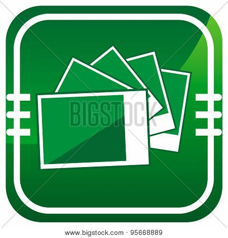 Photographs Pictures - Vector Green Icon Isolated