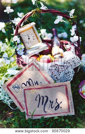 vintage, Provence, basket flowers wine wedding cards Mr. and Mrs.