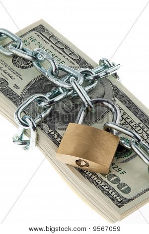 Dollar Currency Notes With Lock And Chain.