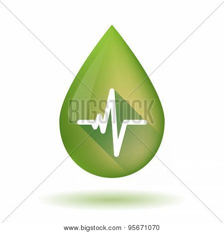 Olive Oil Drop Icon With A Heart Beat Sign