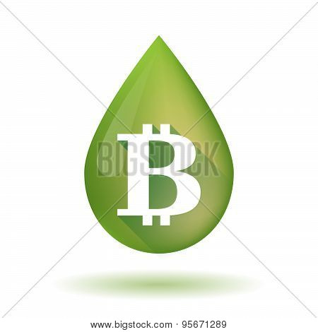 Olive Oil Drop Icon With A Bit Coin Sign