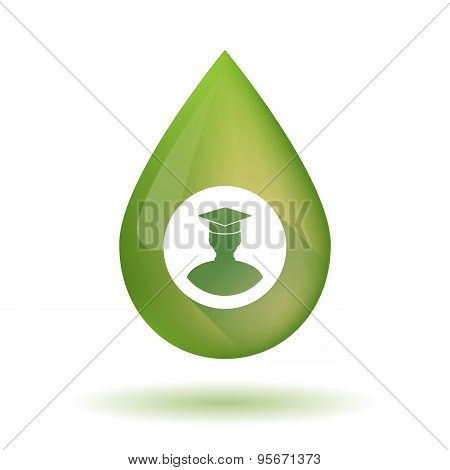 Olive Oil Drop Icon With A Student
