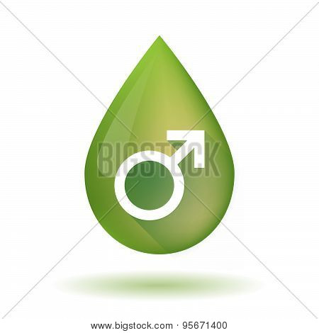 Olive Oil Drop Icon With A Male Sign