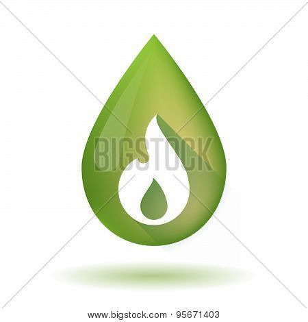 Olive Oil Drop Icon With A Flame