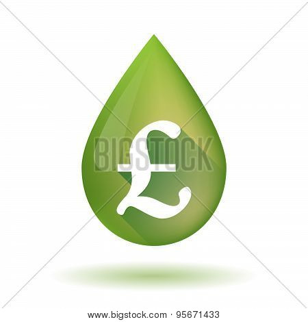 Olive Oil Drop Icon With A Pound Sign