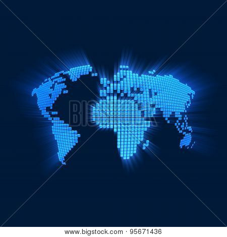 Stylized World Map with Blue Rays