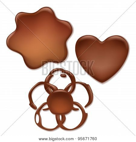 Chocolate melt blot set - heart, wave, flower forms.