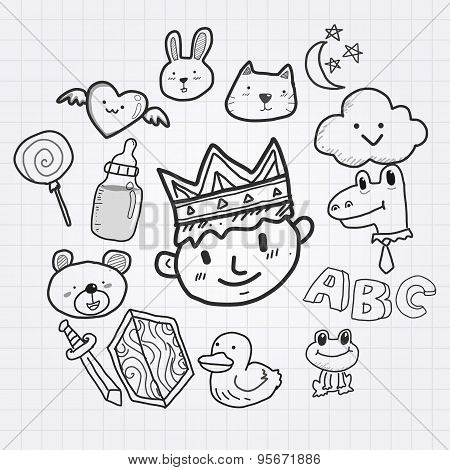 King and pet cartoon doodle