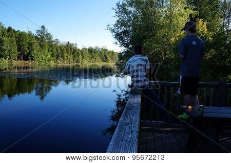 Boys Fishing in Spring Lake