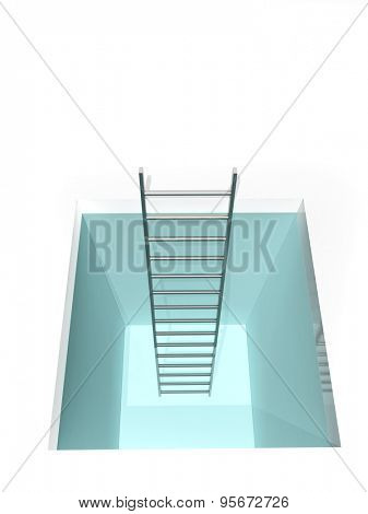 Conceptual image - way to freedom. Ladder from the hatch. Isolated on white background