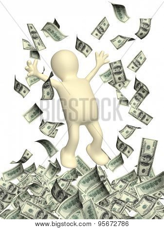 Happy 3d man leaping and a money rain with dollar banknotes. Isolated on white backgorund