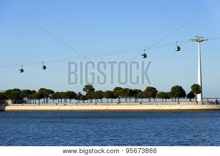 Aerial gondolas in the Nations Park in a summer day in Lisbon, Portugal