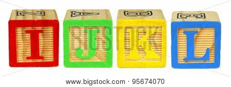 I J K L toy wooden letter blocks