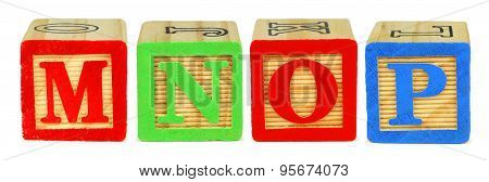 M N O P toy wooden letter blocks