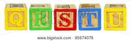 Q R S T U toy wooden letter blocks