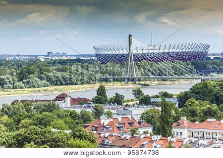 National Stadium In Warsaw Built For Football Competition Euro 2012. View Over Vistula River.