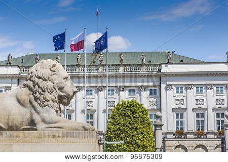 Presidential Palace In Warsaw, Poland. Before It: Bertel Thorvaldsen's Equestrian Statue Of Prince J