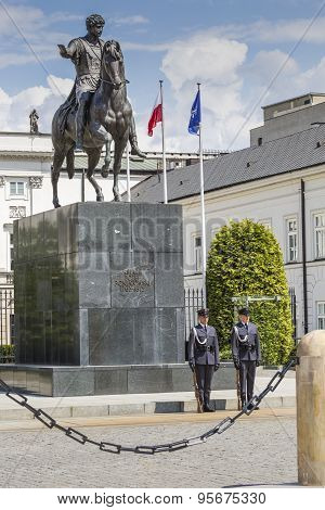 Warsaw, Poland - July, 08: Presidential Palace In Warsaw, Poland. Before It: Bertel Thorvaldsen's Eq