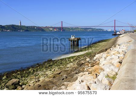 Shore of the Tagus river in Lisbon, Portugal