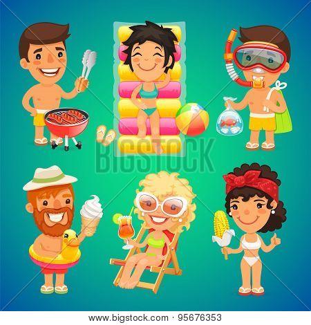 Happy Cartoon Characters on the Beach