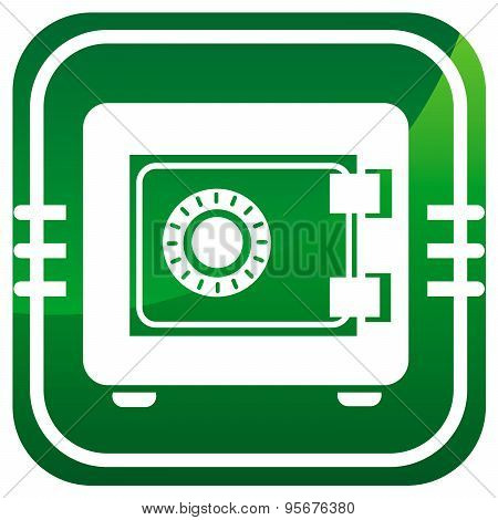 Metal Safe Green Icon. Security Concept. Vector Illustration