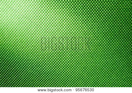 Green Fabric Nylon Background Texture With Light From Corner