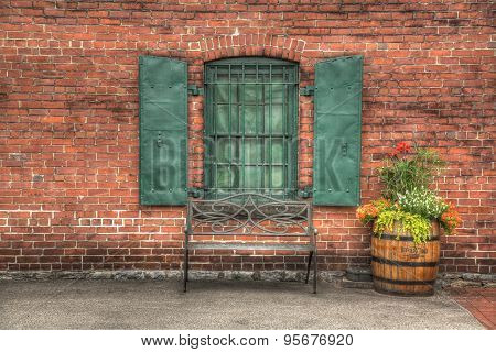 Brick wall with iron shutters