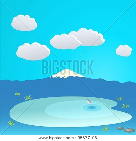 Mountain and lake at the background of the cloudy sky, vector il