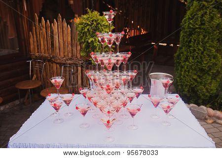 Pyramid of glasses wine, champagne