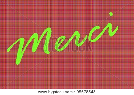 Green Merci thank you in French language