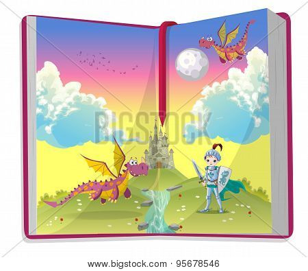 Open book about young knight and two dragons