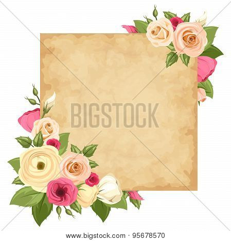 Parchment card with pink and orange roses, lisianthuses and ranunculus flowers. Vector eps-10.
